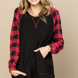 Black Fleece Top with Red Plaid Sleeves